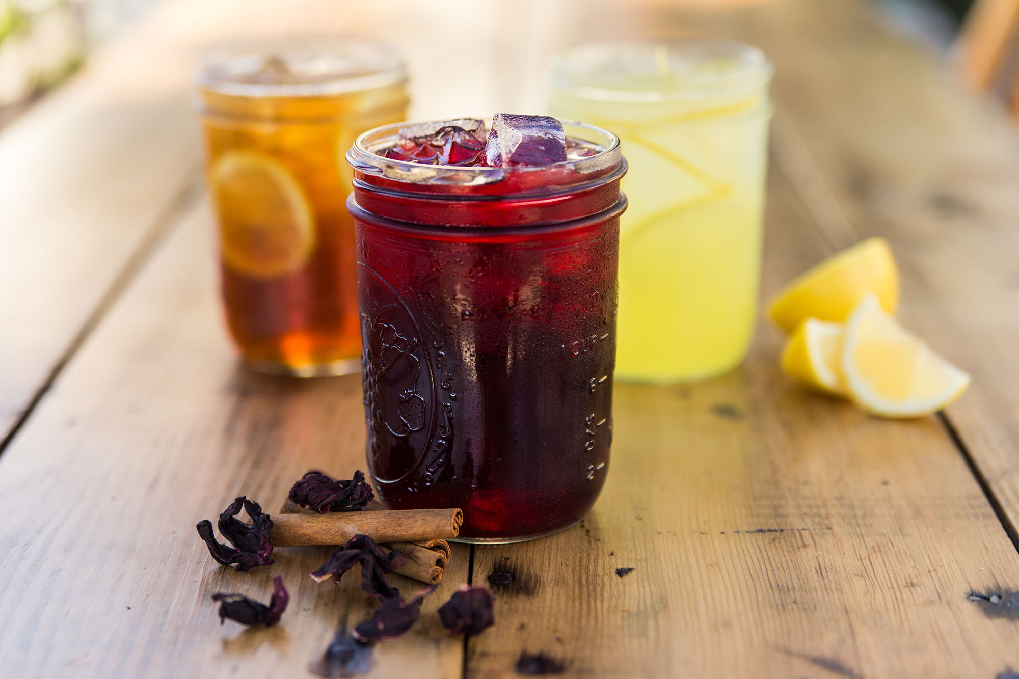 Iced tea, sorrel drink and lemonade